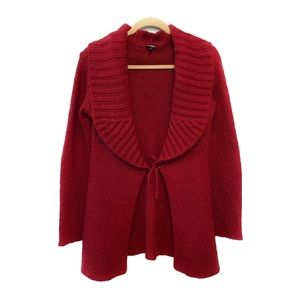 Wooden Ships Red Front Tie Cardigan Sweater M/L